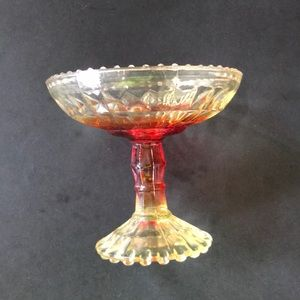 Gold hew and red carnival candy dish